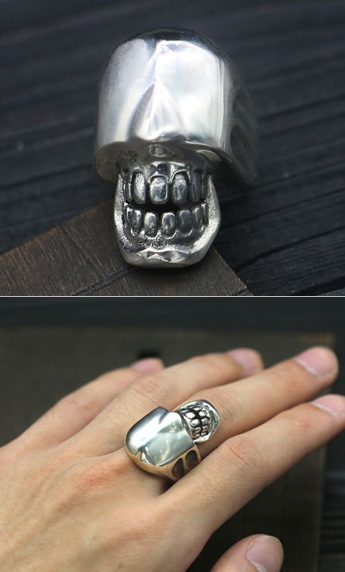 Sterling Silver Eyeless Skull Ring Biker Ring