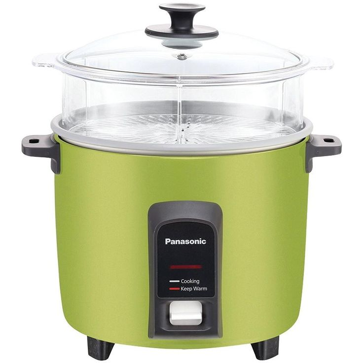 PANASONIC SR-Y22FGJG 12-Cup Automatic Rice Cooker (Green). 12-cup rice capacity;  2-dish separator;  Keep-warm function for up to 5 hours;  Cooks rice & steams vegetables, fish & meats simultaneously ;  Durable, anchor-coated nonstick inner cooking pan eliminates sticking & evenly distributes heat for faster cooking & more uniformly prepared rice;  Quick cleanup with smooth, nonstick inner & outer coatings;  1-touch controls;  Stay-cool handles;  Includes steaming basket, nonstick...