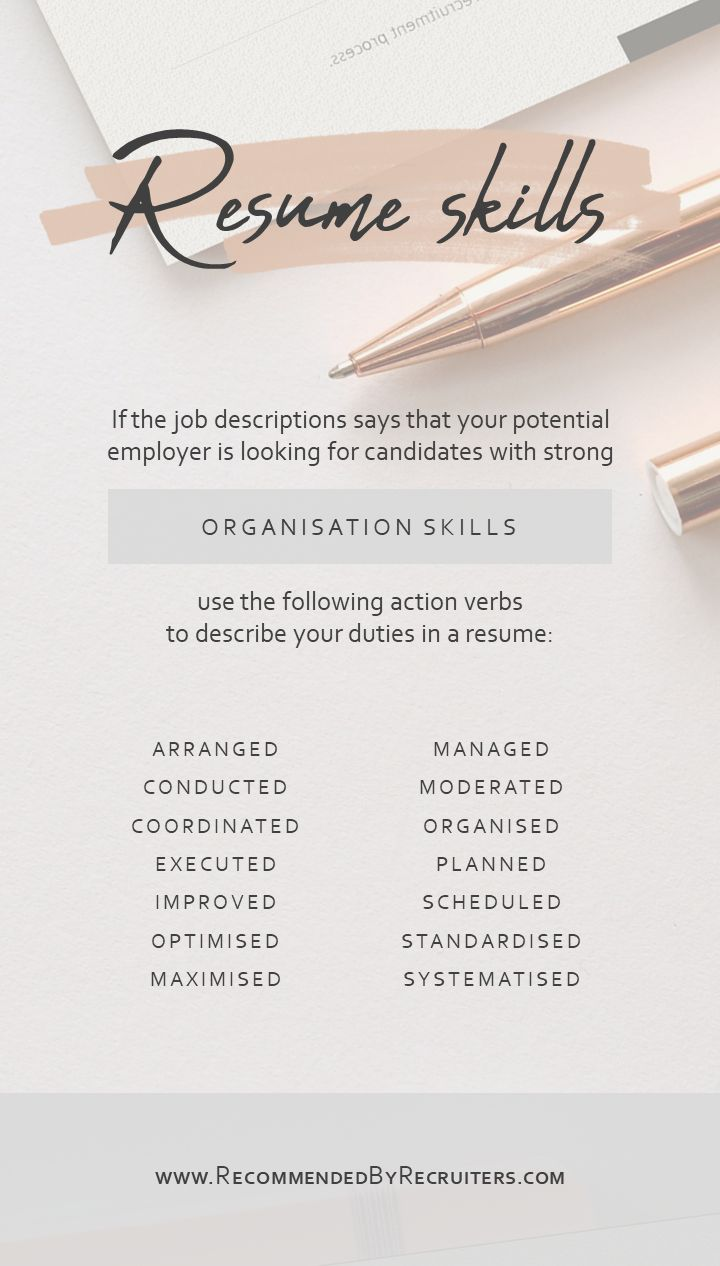 Organisation skills on a resume action verbs for a cv