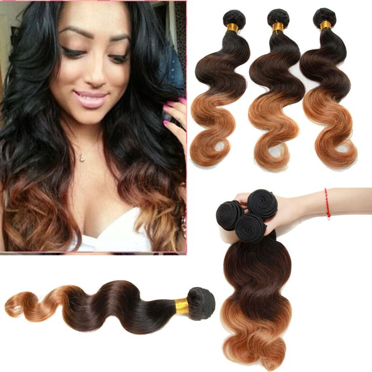 """Hot US Brazilian Human Hair Extension12""""-26""""Ombre Hair 1B/4/27# Body Wave 50g/pc #WIGISS #HairExtension"""
