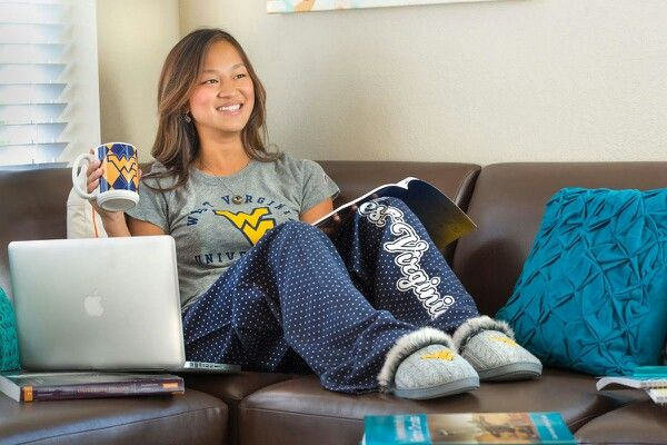 Boxercraft polka-dot pajama bottoms available at the WVU Bookstore. Slippers available at Kohl's and ShopWVU.com.  http://www.shopwvu.com/West_Virginia_Mountaineers/West_Virginia_Mountaineers_Ladies_Knit_Slippers_-_Gray