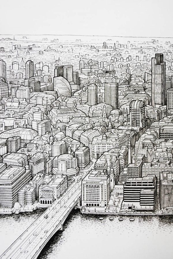 Panoramic pen drawing of London (work in progress) by Mike Hall, via Behance