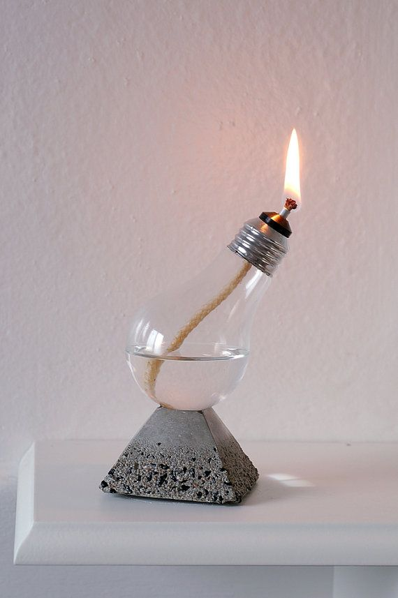 Handmade Home Decor Light Bulb Oil Lamp on Pyramid natural concrete and Black Rock Base, Aluminum top bulb (12-005)