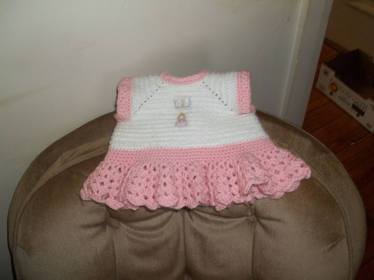 A crocheted dress (3 months to 6 months )front and back view