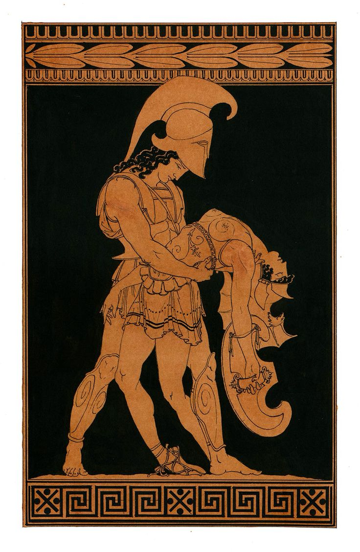 Achilles holds the body of Pentheselia , the Amazon.