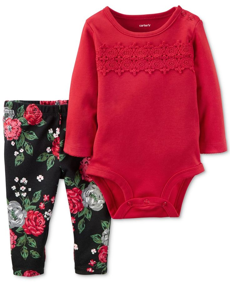 Pretty details-like delicate lace and a fresh floral print-lend adorable charm to this Carter's bodysuit-and-leggings set. | Cotton | Machine washable | Imported | Bodysuit: crew neck; snap closures a