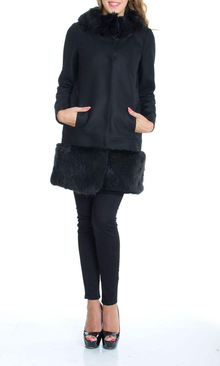 Trussardi Jeans | Cappotto Trussardi Jeans Donna con Pelliccia Col. Nero - Shop Online su Dursoboutique.com 56S01A