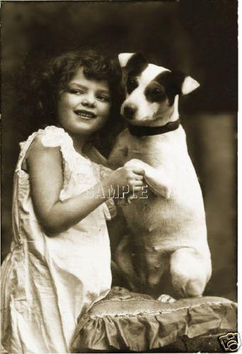 Vintage Jack Russell Terrier Dog Child Girl Photograph Photo Canvas Art Print | eBay