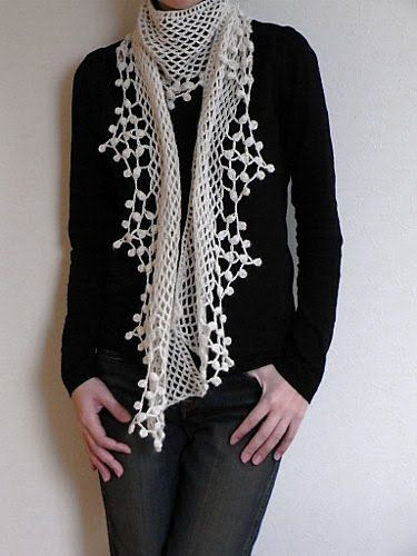 Popcorn scarf, crochet with chart