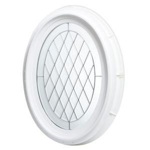 Tafco windows 20 in x 28 5 in oval geometric vinyl for Oval window treatment ideas