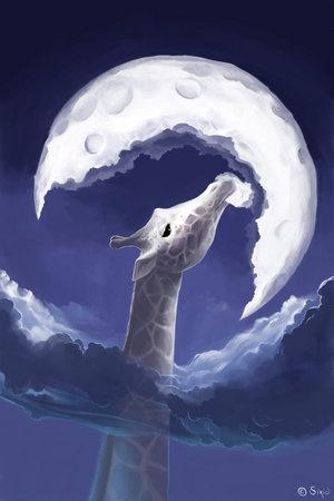BEAUTIFUL PICTURE: La Fable, Cyril Rolando, Moon, Art Prints, Digital Art, Giraffes Eating, Fable De, La Giraf, The Moon