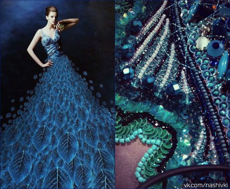 """""""Человек на берегу моря — всегда поэт"""" Б.Ёсимото  #pv_citaty #вышивка #вышивание #рукоделие #цитаты #подборки #красота #мода #женщина #синий #платье #море #пайетки #бисер #поэзия #бусины"""