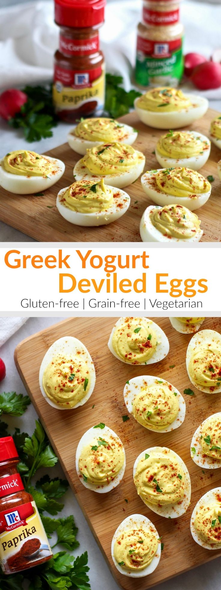 Tangy and thick Greek yogurt takes the place of mayo in our Greek Yogurt Deviled Eggs. Made with just 5 simple ingredients dusted with @mccormickspice smokey paprika! The Real Food Dietitians | http://therealfoodrds.com/greek-yogurt-deviled-eggs/ #ad #sponsored