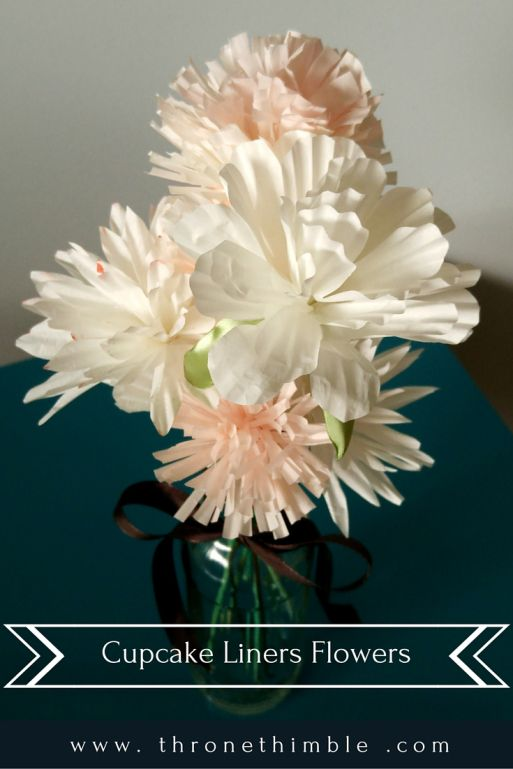 Flowers out of cupcake liners- very easy and affordable DIY- use for centrepieces and decor