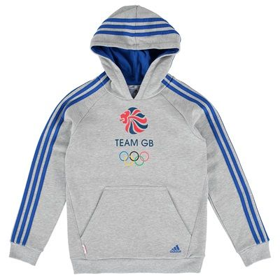 Team GB Big Logo Hoodie - Junior Boys - Medium Grey Heather/Power Blue/Full Colour