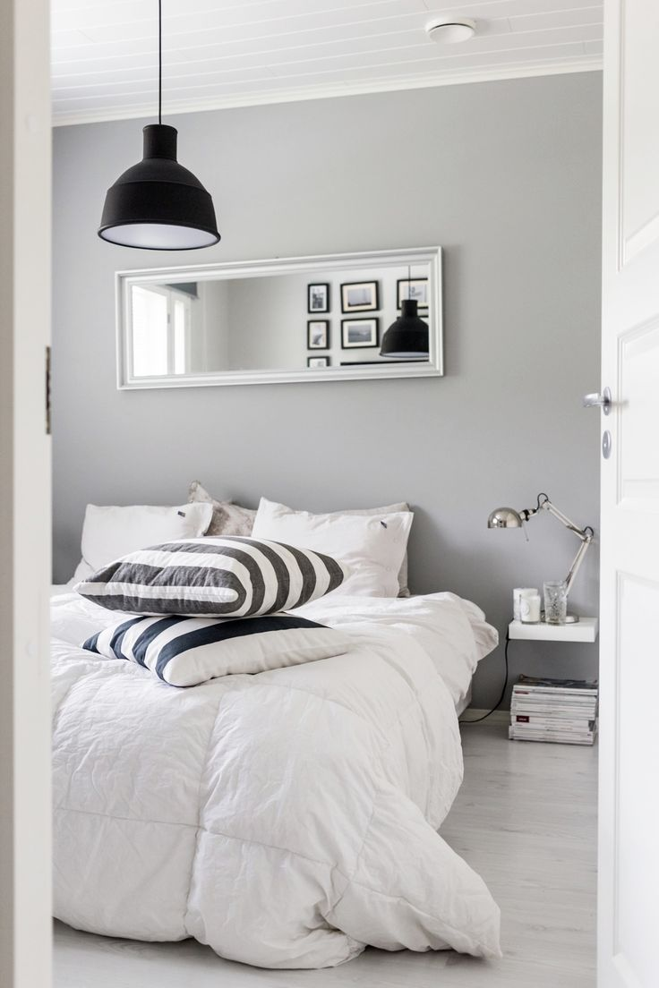 Bedroom / Muuto lamp / Black, white and grey /  Noora&Noora nooraandnoora.com
