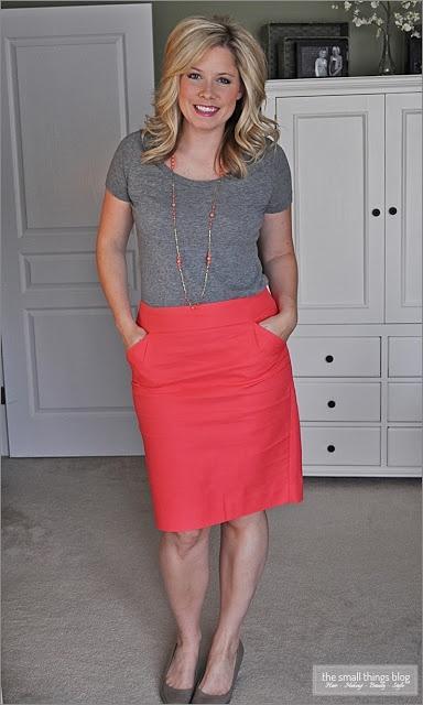 Grey t-shirt and coral pencil skirt