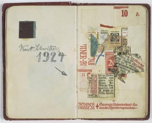 Kurt Schwitters, Carnet de Nina Kandinsky: Page du carnet de Nina Kandinsky,1924, papiers collés, 10,4 x 13cm, Paris, Centre Po...