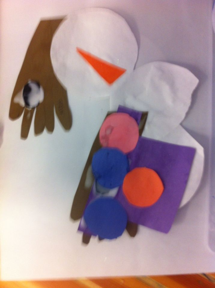 Picasso of snowmen. another example of letting them enjoy the process of the art activity.