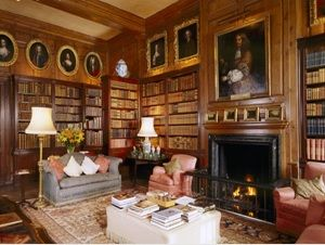 Antony House in Cornwall, England, a smaller house built around 1720. The library Library contains books from the original Antony and Shute collections and a fine portrait collection, as well as a fireplace, bookcases, chairs and pine paneling. uilt in the 1840s and 50s.