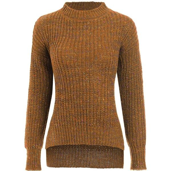 Ginger ONE SIZE Crew Neck High Low Side Slit Sweater ($15) ❤ liked on Polyvore featuring tops, sweaters, crew-neck tops, crew top, brown top, side slit top and crew-neck sweaters