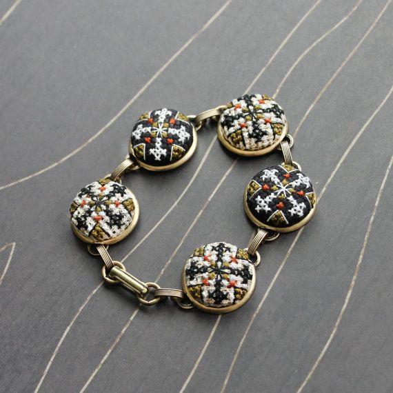Velma cross stitch bracelet silver by TheWerkShoppe on Etsy