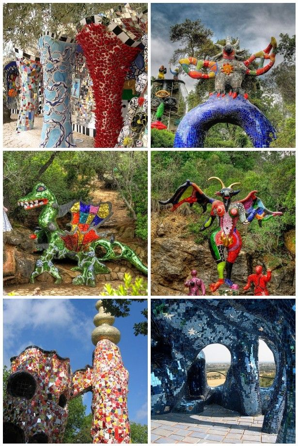 Niki de Saint Phalle The Tarot Garden Tuscany. Pictured top left to bottom right: bottom structure connecting the Falling Tower to the Emperor, The Sun, Strength, The Devil, The Emperor,top deck of The Empress.