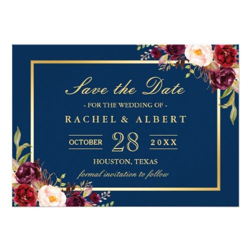 1590 best navy blue wedding ideas images on pinterest navy blue burgundy marsala floral blue wedding save the date card stopboris Images