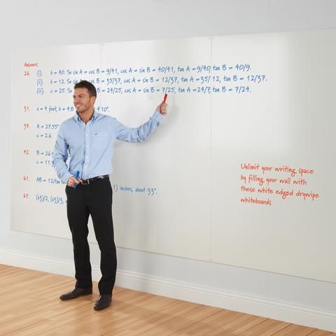 Create a continuous drywipe whiteboard wall.  The tough ABS edged whiteboards mount flush to the wall and each other due to its frameless design, and simple through the board fixing. White cover caps mask the fixings. Please see some suggestions on how to cover specific wall dimensions. There are 6 standard sizes to choose from. Special sizes can be produced, prices by quotation. Please allow 10-15 working days for delivery.