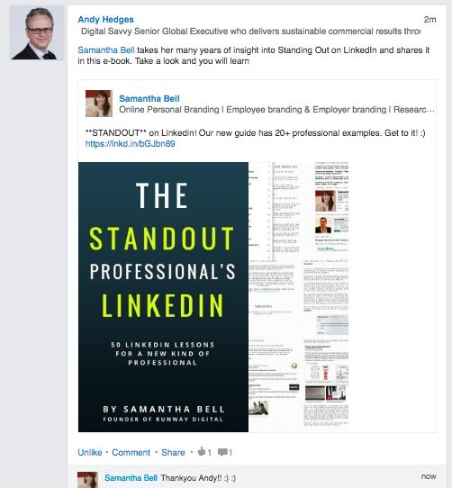 Improve your Linkedin Profile! Andy Hedges shares our eBook with his international audience
