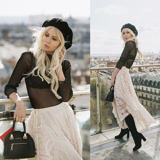 Get this look: http://lb.nu/look/8729161  More looks by Sarah Loven: http://lb.nu/sarahloven  Items in this look:  Urban Outfitters Black Beret, Brandy Melville Usa Sheer Glitter Top, Matisse Footwear Boots, Bebe Black Purse, Spell Designs Creme Lace Skirt   #chic #classic #retro #boho