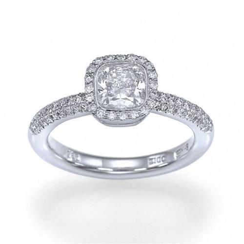 """Cushion Star """" Bezel Set Halo Cushion Cut Diamond Engagement Ring wit"""
