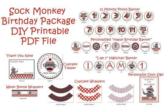 Sock Monkey Birthday Party   Sock Monkey by JRCreativeDesigns, $29.99