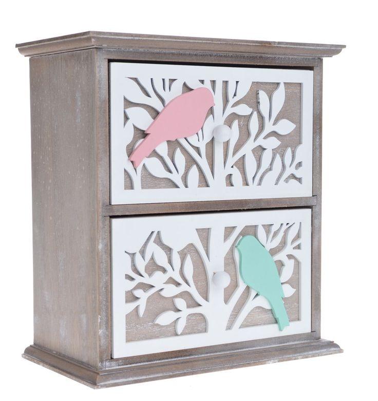 Szafka z dwoma szufladkami z drzewkiem i kolorowymi ptaszkami na gałęzi. Szafka posiada dwie niewielkie szufladki na drobiazgi. Całość wykonana z drewna + mdf. Doskonała do przechowywania biżuterii i drobiazgów.