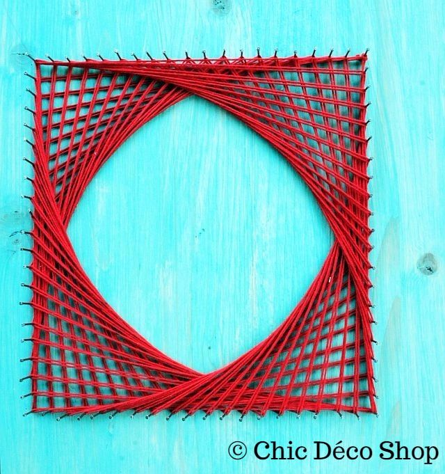 String art - simple red square, geometric string art