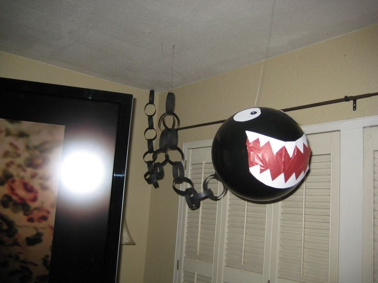 For Super Mario Party.  Made Chomp Chomps out of balloon and paper.  Great effect.  Would move around while hung from fishing line when people would walk by.