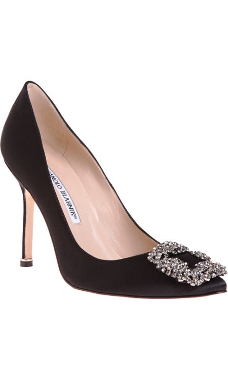 Manolo Blahnik Hangisi- just the right amount of dazzle in basic black.