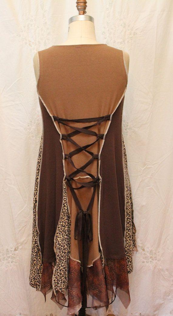 Womens robe funky vêtements robe sans manches loose fit par MilaLem