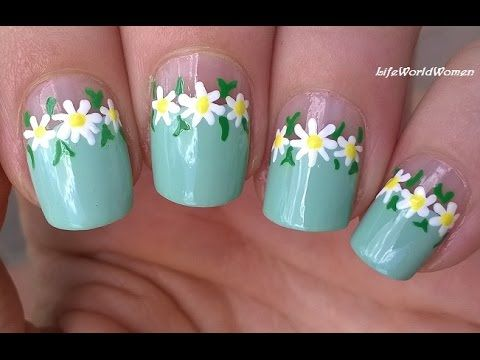 TOOTHPICK NAIL ART #13 - Negative Space DAISY NAILS Idea - http://47beauty.com/nails/index.php/2016/08/20/toothpick-nail-art-13-negative-space-daisy-nails-idea/ http://47beauty.com/nails/index.php/nail-art-designs-products/  Toothpick Nail Art With Daisy Design: Today's nail tutorial is a no special tool needed floral nail design, daisy nails using toothpick. Firstly apply base coat to protect your natural nails from hard discoloration. I use greenish blue nail polish f