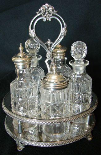 Antique Atkin Bros Sheffield 6 Bottle Silver Plated Glass Cruet Condiment Set | eBay