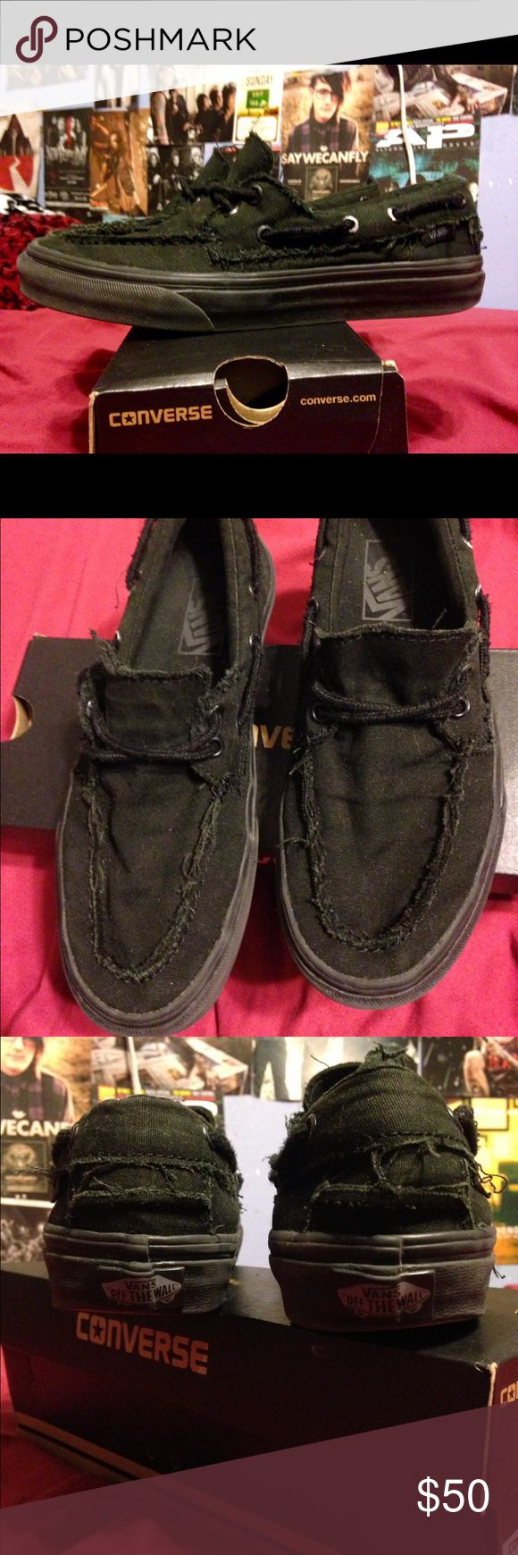 Vans Boat Shoes 40 dollars shipped through playpal :) Size: women's 8 mens: 7.5 worm a few times but washed and looks new :) Vans Shoes Sneakers
