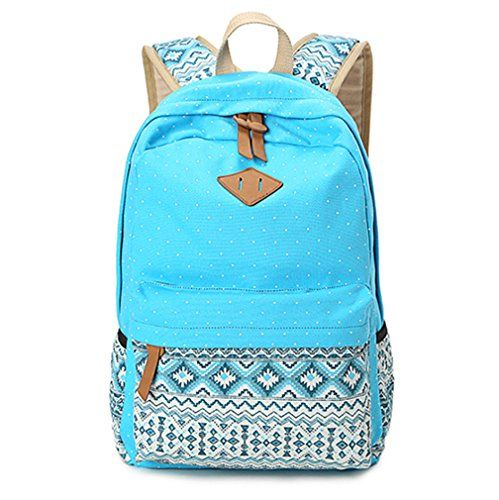 Hitop Geometry Dot Casual Canvas Backpack Bag, Fashion Cute Lightweight Backpacks for Teen Young Girls (Blue) *** READ REVIEW @ http://www.buyoutdoorgadgets.com/hitop-geometry-dot-casual-canvas-backpack-bag-fashion-cute-lightweight-backpacks-for-teen-young-girls-blue/?b=7557