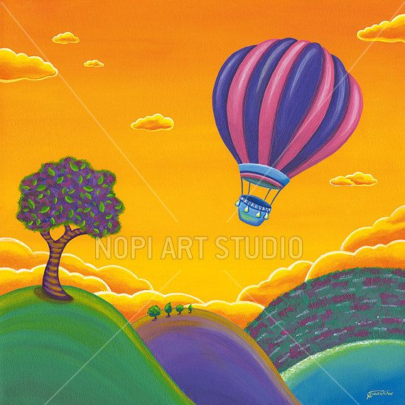 Nursery & Kids Room Art Instant Download, Balloon Ride Painting, Whimsical Landscape, Kids Printable Decor, Child Wall Art, Childrens Poster by NopiArtStudio on Etsy