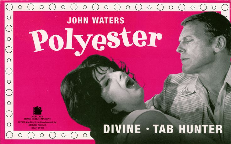 "Polyester is a 1981 comedy film directed, produced, and written by John Waters, and starring Divine, Tab Hunter, Edith Massey, and Mink Stole. It was filmed in Waters' native Baltimore, Maryland, and features a gimmick called ""Odorama"", whereby viewers could smell what they saw on screen through scratch and sniff cards.  http://en.wikipedia.org/wiki/Polyester_%28film%29"