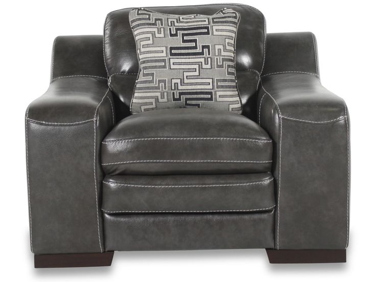 Simon Li Leather Stampede Charcoal Chair