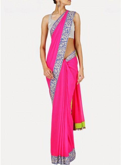 Beautiful Pink & Blue Georgette Based #Saree With Resham Thread Work