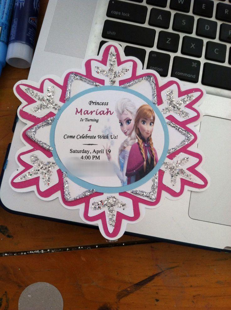 Cricut Frozen Invitations. HANDMADE MYSELF. #Disney #Frozen #Cricut #Snowflake