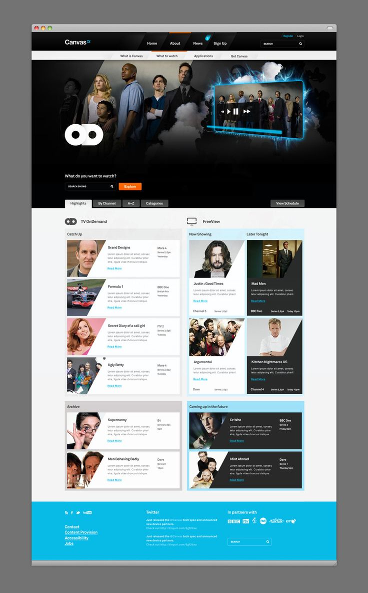 Canvas TV website concept by MmDesign