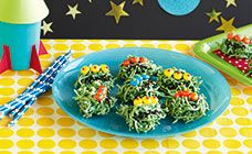 """Chocolate noodle aliens"" is a simple and colorful treat."