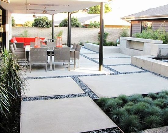 "Courtyard idea: giant concrete ""pavers"" (poured concrete to look like pavers). But instead of pebbles, exposed aggregate concrete between."